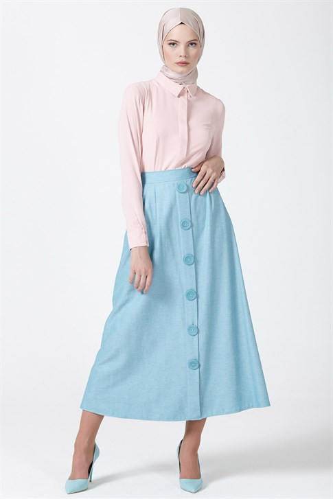Armine Button Detailed Skirt Mint 9Y1745