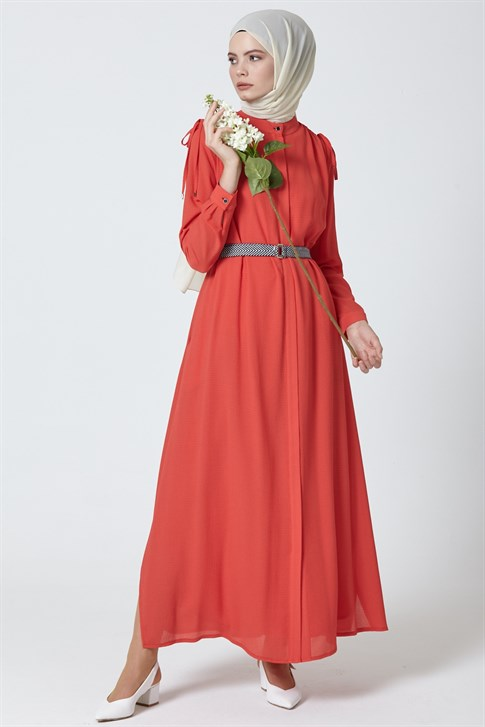 Armine Belt Detailed Dress Red 9Y9713
