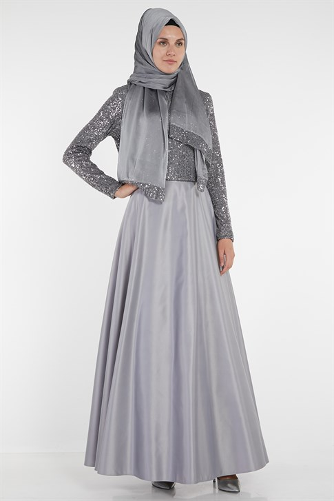 Armine Sequin Embroidered Evening Dress Gray 9Y6721