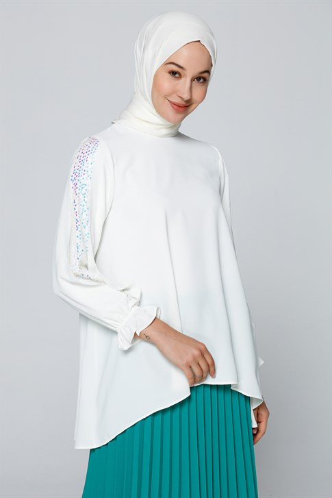 Armine Sequin Detailed Blouse White 20YA3821