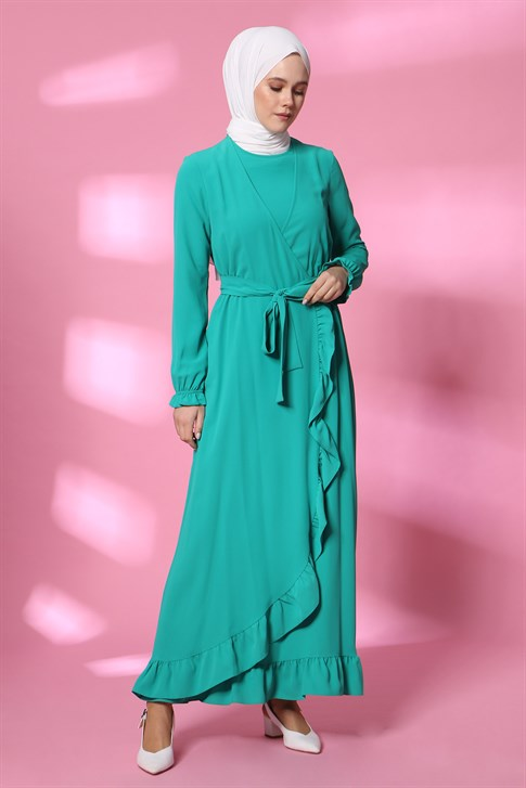 Armine Flounced Detail Dress Green 20Y9106