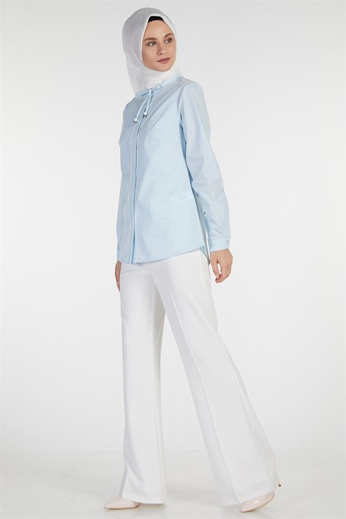 Armine Lacing Detailed Shirt Light Blue 9Y3664