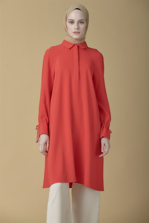 Armine Lacing Detailed Tunic Coral 9K4835