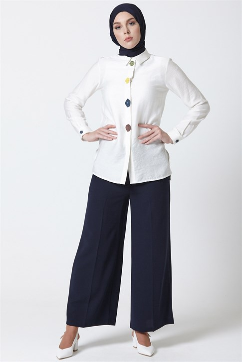 Armine Baggy Trousers Navy Blue 9Y2756