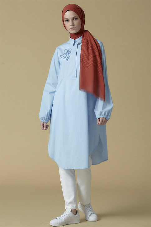 Armine Bead Embroidered Tunic Baby Blue 9K4818