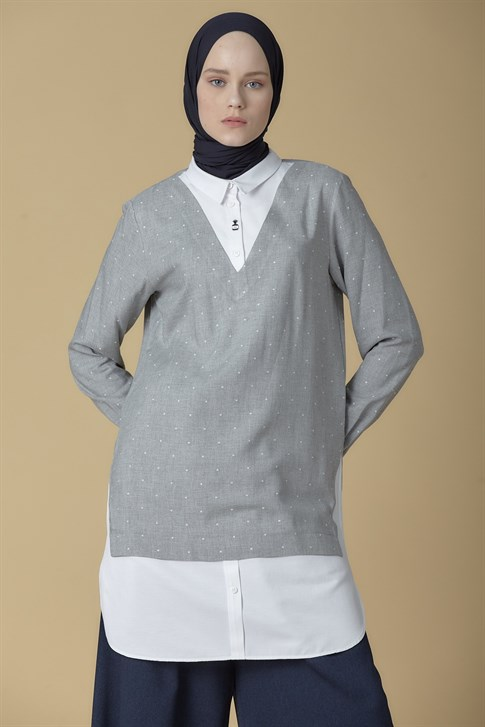 Armine Brooch Detailed Tunic Gray 9K4885
