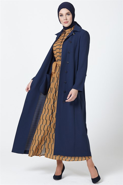 Armine Button Detailed Topcoat Navy Blue 9Y8739