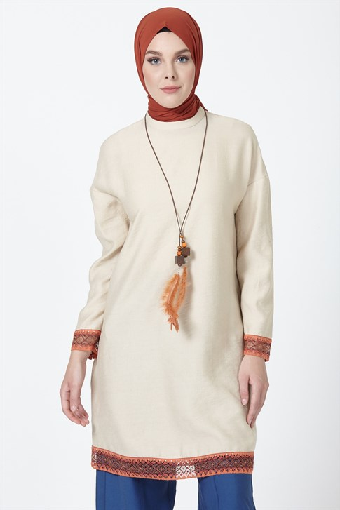 Armine Guipure Detailed Tunic Light Beige 9Y4828