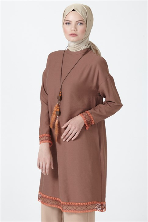 Armine Guipure Detailed Tunic Brown 9Y4828