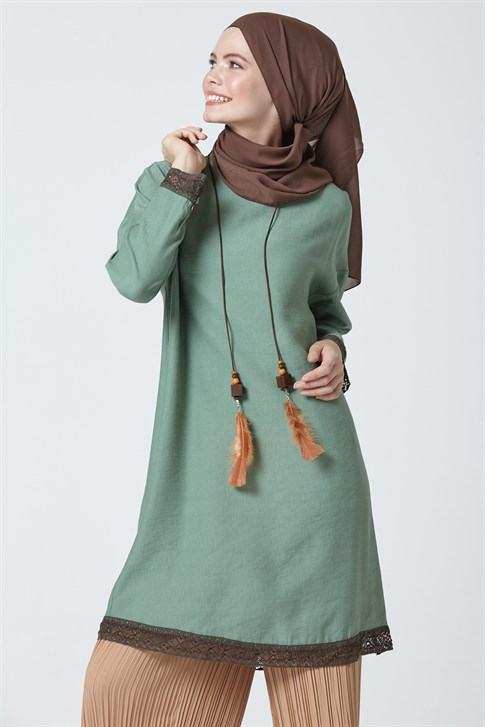 Armine Guipure Detailed Tunic Green 9Y4828