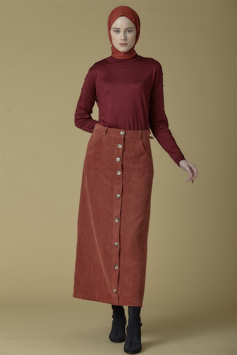 Armine Velvet Skirt Claret Red 9K3002