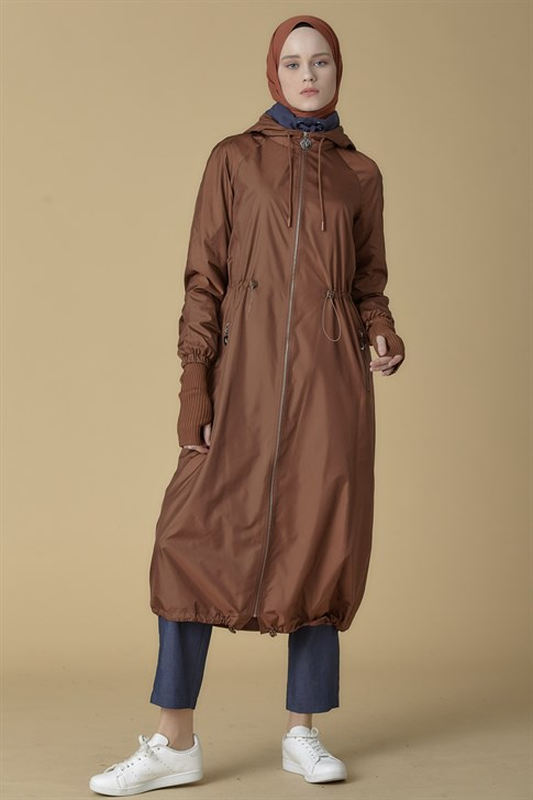 Armine Hooded Topcoat Camel 9K8813