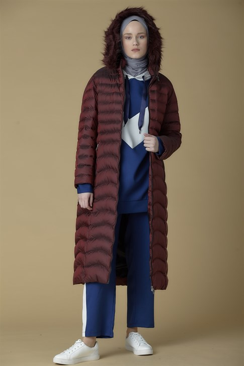 Armine Hooded Inflatable Long Jacket Claret Red 9K1005