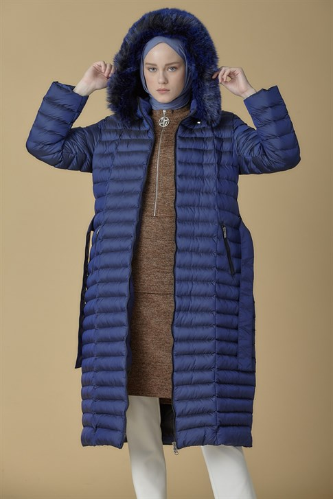 Armine Hooded Inflatable Long Jacket Navy 9K1003