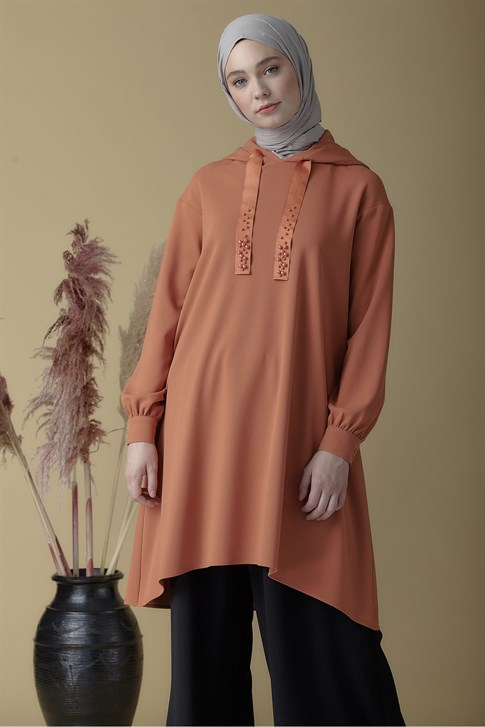 Armine Hooded Tunic Tobacco 9K4833
