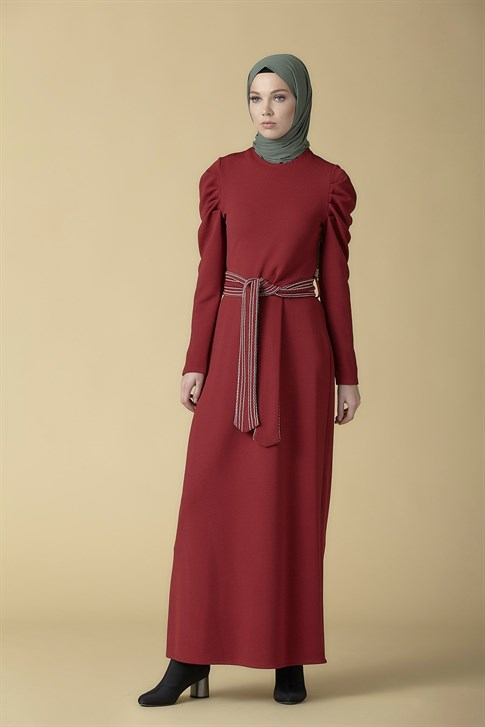 Armine Belt Detailed Dress Claret Red 9K9816