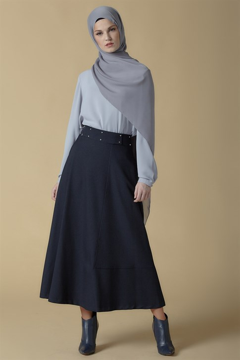 Armine Belt Detailed Skirt Navy Blue 9K1813
