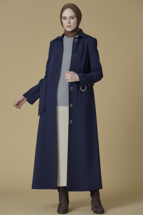 Armine Belt Detailed Topcoat Navy Blue 9K8835