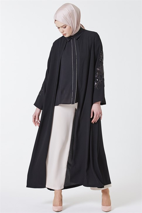 Armine Embroidery Embroidered Abaya Black 9y3505