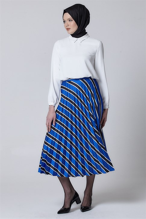 Armine Pleated Detailed Skirt Blue 9Y6000