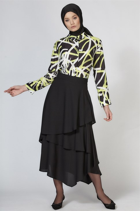 Armine Flounced Detail Skirt Black 9K1814