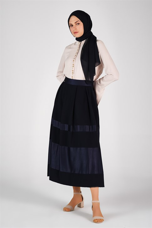 Armine Pile Detailed Skirt Navy 8K1606