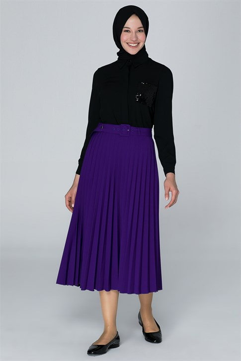 Armine Belt Pleated Detailed Skirt Purple 9K1806