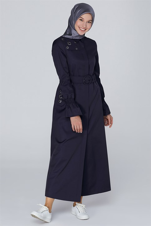 Armine Eyelet Detailed Topcoat Navy Blue 9K8812