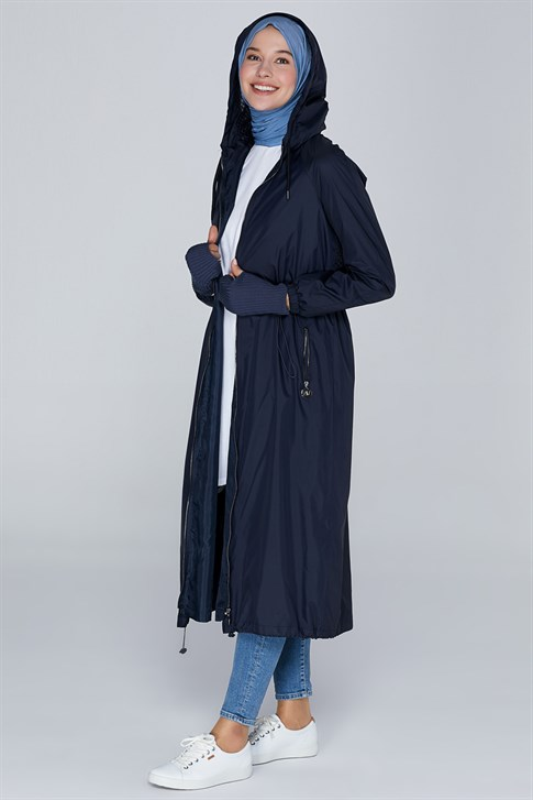 Armine Hooded Topcoat Navy Blue 9K8813
