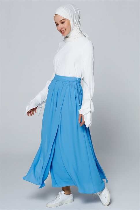 Armine Chiffon Detailed Skirt Turquoise 9YA1739