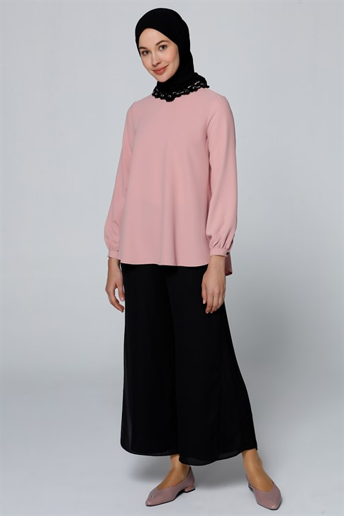 Armine Collar Detailed Blouse Light Pink 9Y3602