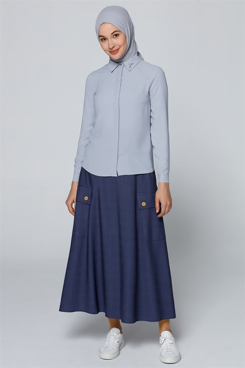 Armine Collar Detailed Shirt Gray Blue 9Y3614