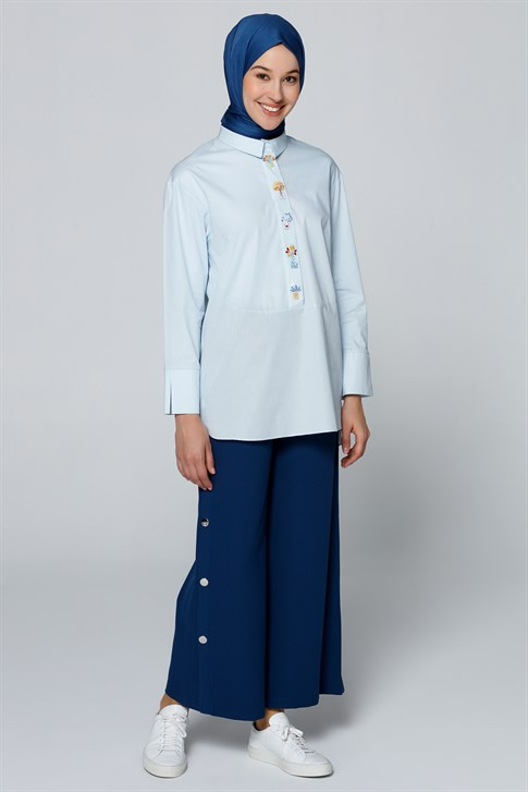 Armine Embroidery Detailed Blouse Light Blue 9Y3655