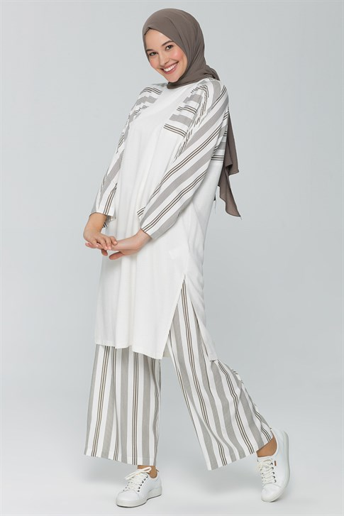 Armine Striped Double Suit Ecru 9Y6762