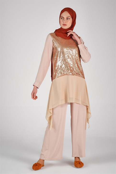 Belli Sequin Embroidered Double Suit Beige 9YB6804