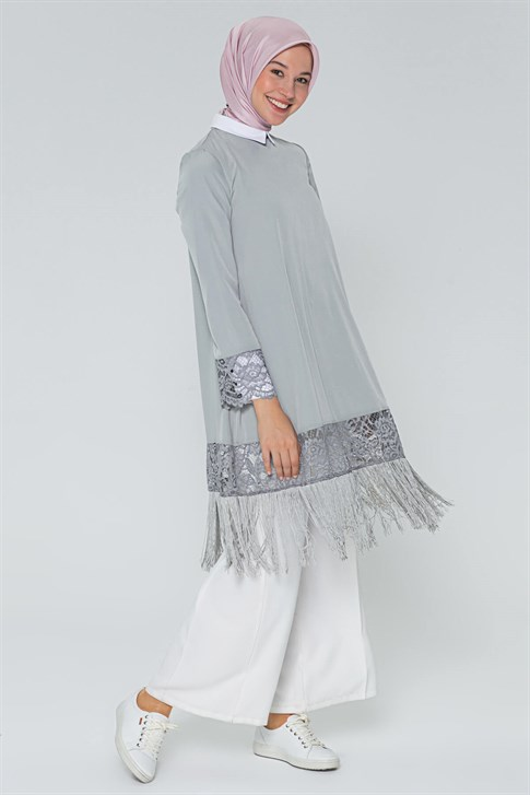 Armine Tassel Detailed Tunic Gray 9Y7500