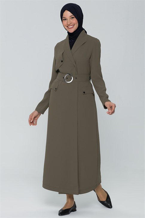 Armine Belt Topcoat Khaki 9Y8721