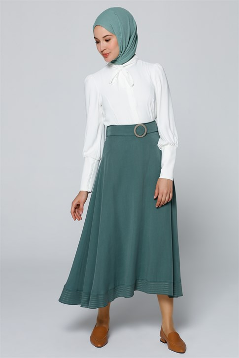 Armine Embroidery Detailed Skirt Pine Green 20Y1917