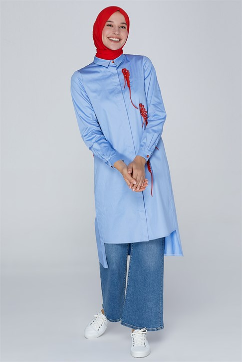 Armine Lacing Detailed Tunic Baby Blue 20YA4209