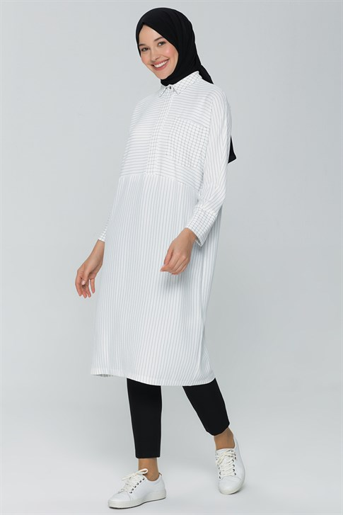 Armine Striped Sporty Tunic White 20Y4216