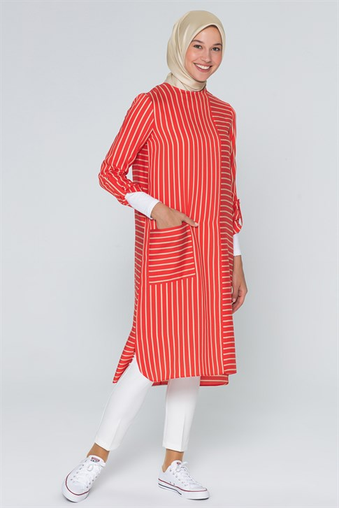 Armine Striped Tunic Coral 20Y4218
