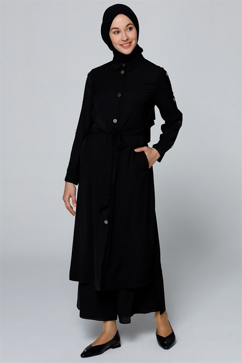 Armine Button Detailed Long Jacket Black 20Y7117