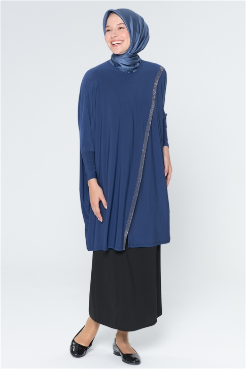 Armine Strip Detailed Tunic Indigo 20Y8811